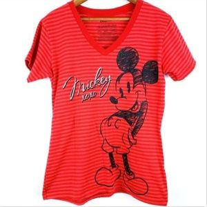 Disney Mickey Mouse Women's Red Graphic T Shirt